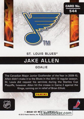 Jake Allen (St. Louis Blues) - Back