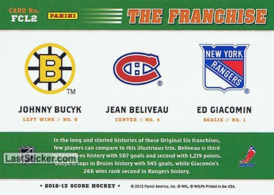 Johnny Bucyk / Jean Beliveau / Ed Giacomin (Boston Bruins / Montreal Canadiens / New York Rangers) - Back