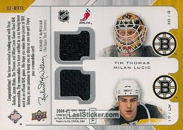 Vesa Toskala / Jason Blake / Tim Thomas / Milan Lucic (Toronto Maple Leafs / Boston Bruins) - Back