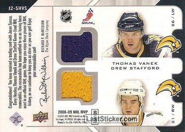 Jason Spezza / Dany Heatley / Thomas Vanek / Drew Stafford (Ottawa Senators / Buffalo Sabres) - Back