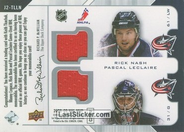 Keith Tkachuk / Manny Legace / Rick Nash / Pascal Leclaire (St. Louis Blues / Columbus Blue Jackets) - Back