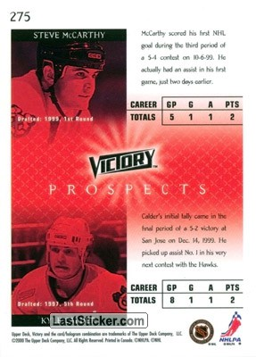 Steve McCarthy / Kyle Calder (Chicago Blackhawks) - Back