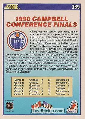 Campbell Conference Champions (Edmonton Oilers) - Back