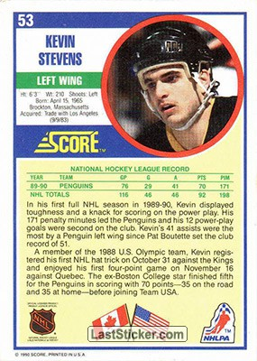 Kevin Stevens (Pittsburgh Penguins) - Back