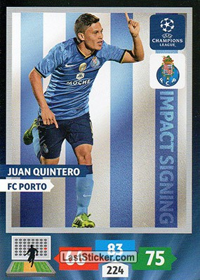 Panini Adrenalyn XL Champions League 13//14 282-Juan Quintero-Impact Signings