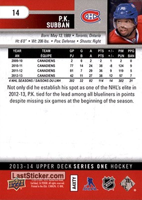 P.K. Subban (Montreal Canadiens) - Back