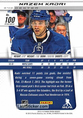 Nazem Kadri (Toronto Maple Leafs) - Back