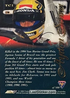 Ayrton Senna Tribute Card (Tribute Card) - Back