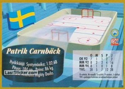 Patrik Carnback (Team Sweden) - Back