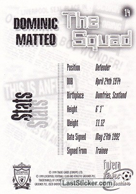 Dominic Matteo (The Squad) - Back