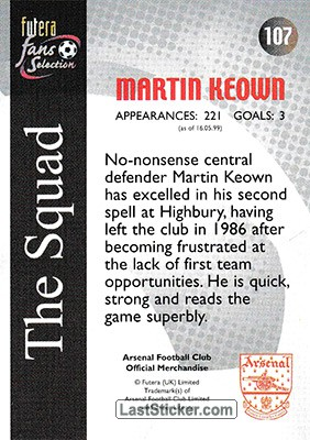 Martin Keown (The Squad) - Back