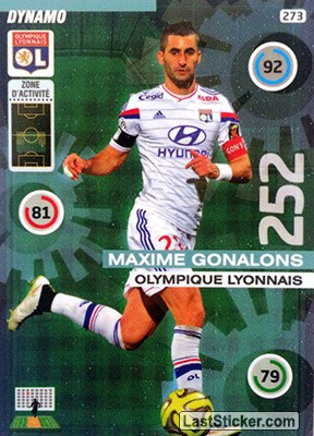 card 273 maxime gonalons panini foot 2015 2016 adrenalyn xl. Black Bedroom Furniture Sets. Home Design Ideas