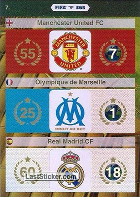 Manchester United FC, Olympique de Marseille, Real Madrid CF (Logos)