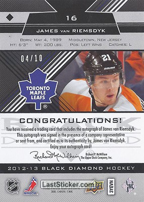 James van Riemsdyk (Toronto Maple Leafs) - Back