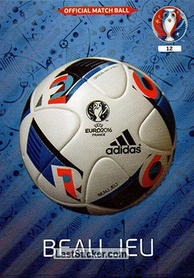 card 12 official ball panini uefa euro france 2016. Black Bedroom Furniture Sets. Home Design Ideas