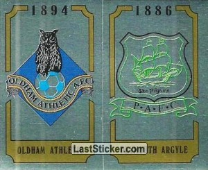 Oldham Athletic Badge / Plymouth Argyle Badge (2nd Division)