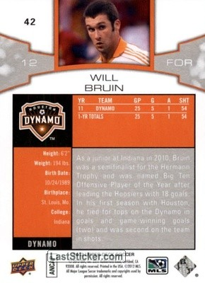 Will Bruin (Houston Dynamo) - Back