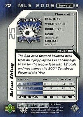 Brian Ching (San Jose Earthquakes) - Back