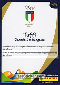 Tuffi (Calendario gare) - Back