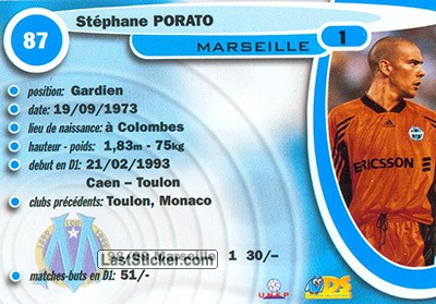 Stephane Porato (Olympic Marseille) - Back