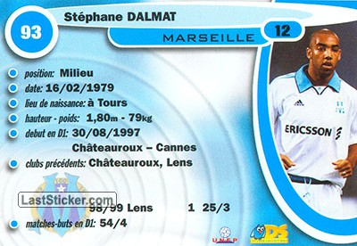 Stephane Dalmat (Olympic Marseille) - Back
