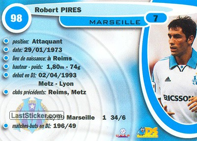 Robert Pires (Olympic Marseille) - Back
