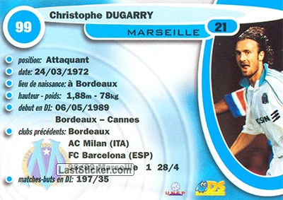 Christophe Dugarry (Olympic Marseille) - Back
