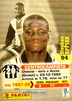 Stephan Appiah (Udinese) - Back
