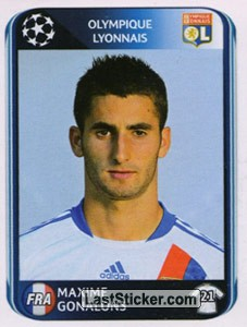 sticker 79 maxime gonalons panini uefa champions league 2010 2011. Black Bedroom Furniture Sets. Home Design Ideas