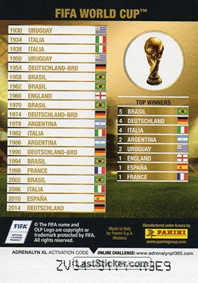 FIFA World Cup (FIFA Trophies) - Back