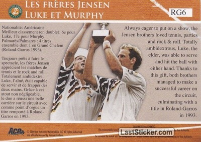Jensen Brothers (French Open Memories) - Back