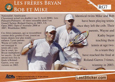 Bryan Brothers (French Open Memories) - Back