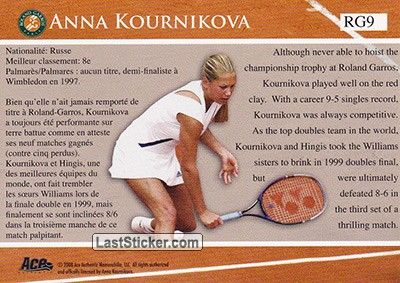 Anna Kournikova (French Open Memories) - Back