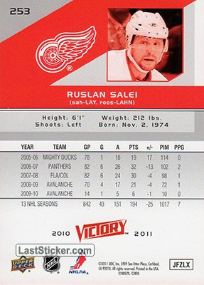 Ruslan Salei (Detroit Red Wings) - Back