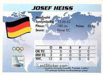 Josef Heiss (Team Germany) - Back