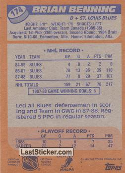 Brian Benning (St. Louis Blues) - Back