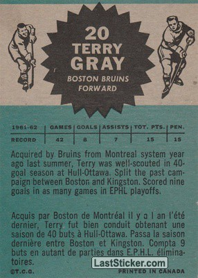Terry Gray (Boston Bruins) - Back