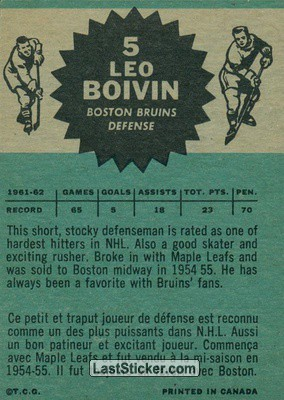 Leo Boivin (Boston Bruins) - Back