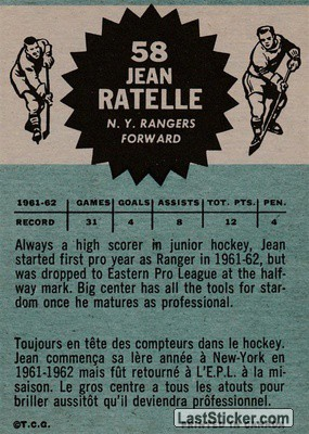 Jean Ratelle (New York Rangers) - Back