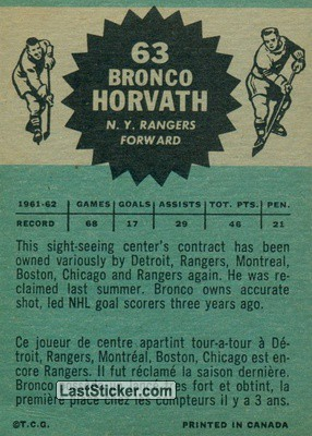 Bronco Horvath (New York Rangers) - Back