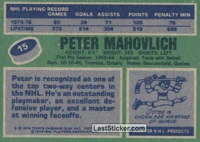 Pete Mahovlich (Montreal Canadiens) - Back