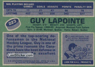 Guy Lapointe (Montreal Canadiens) - Back