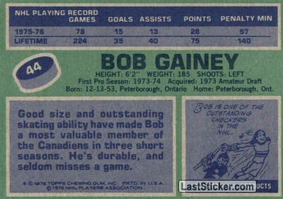 Bob Gainey (Montreal Canadiens) - Back