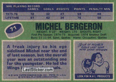 Michel Bergeron (Detroit Red Wings) - Back