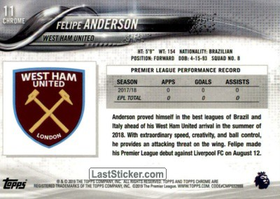 Felipe Anderson (West Ham United) - Back