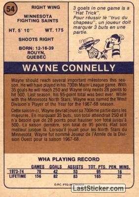 Wayne Connelly (Minnesota Fighting Saints) - Back
