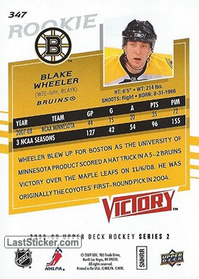 Blake Wheeler (Boston Bruins) - Back
