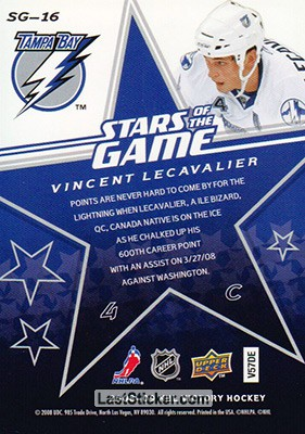 Vincent Lecavalier (Tampa Bay Lightning) - Back