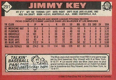 Jimmy Key (Toronto Blue Jays) - Back
