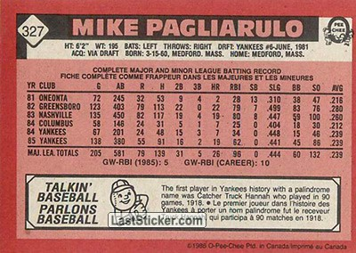 Mike Pagliarulo (New York Yankees) - Back